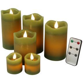 LED-Kerzenset grün, mit Fernbedienung