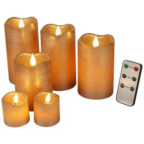 LED-Kerzenset kupfer, mit Fernbedienung