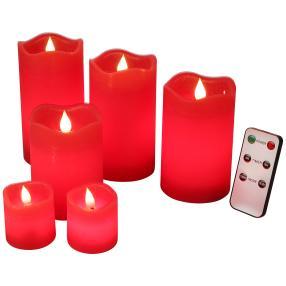 LED-Kerzenset rot, mit Fernbedienung