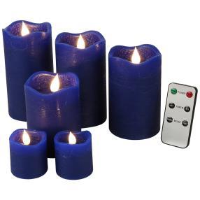 LED-Kerzenset blau, mit Fernbedienung