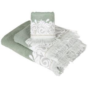 Luxus Frottierset grün-weiß, 3-teilig