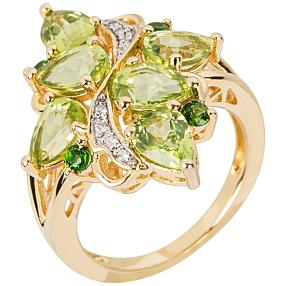 Ring 925 Sterling Silber vergoldet Peridot