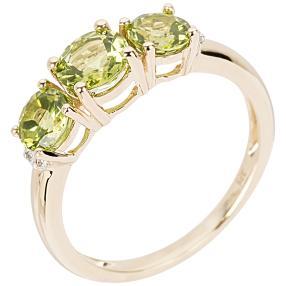 Ring 375 Gelbgold, Peridot + Zirkon