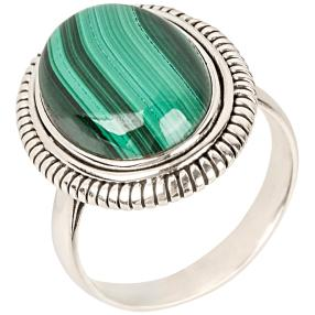 Ring 925 Sterlingsilber rhodiniert Malachit