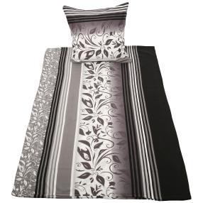 Biber Bettwäsche 135x200cm, schwarz-weiß