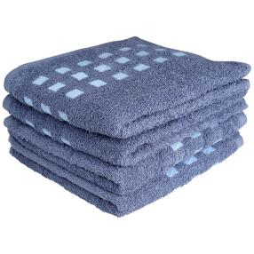 Handtuch 4er Set, blau kariert