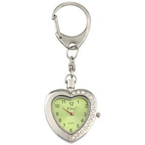Etica Schlüsselanhänger mit Uhr, Modell Herz grün