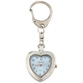 Etica Schlüsselanhänger mit Uhr, Modell Herz blau