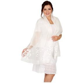 Schal Made in Italy weiß geschmückt