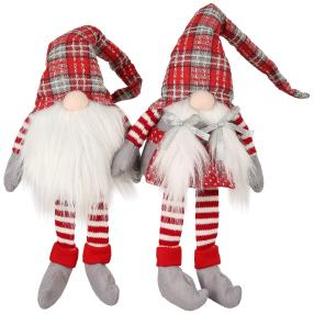 Weihnachtswichtel 2er-Set rot-kariert