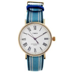 """Timex Herrenuhr """"Fairfield"""" Quarz vergoldet blau"""
