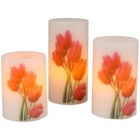 LED-Kerzenset Tulpen, 3-teilig