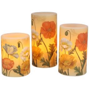 LED-Kerzenset Blumen, 3-teilig