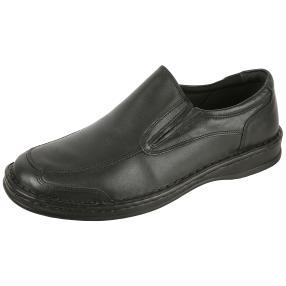 Dr. Feet Herren Nappaleder Slipper, schwarz