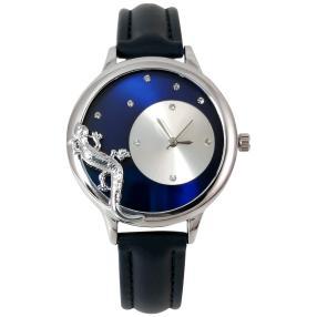 """crystal blue Damenuhr """"Eidechse"""" silbern-blau"""