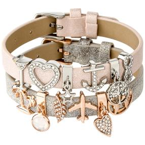 Armband 2er Set mit 12 Charms