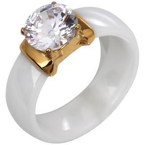 Ring Keramik Zirkonia Edelstahl vergoldet