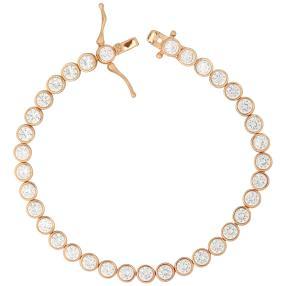 Armband 925 St. Silber rosévergoldet, Zirkonia