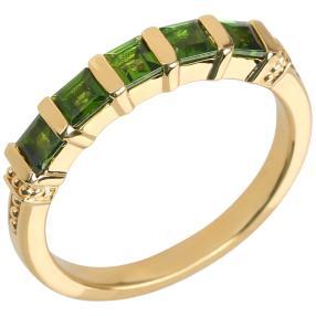 Ring 925 Silber vergoldet, Chromdiopsid