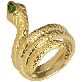 Ring 925 Sterling Silber vergoldet, Chromdiopsid