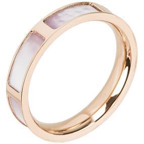 Ring Edelstahl rosé mit synthetischem Perlmutt