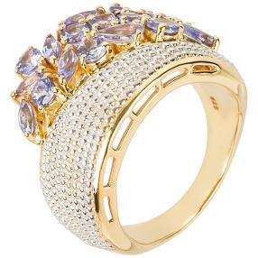 Ring 925 Sterling Silber vergoldet Tansanit