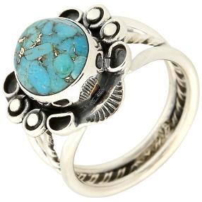 Ring 925 Sterling Silber Blue Copper Türkis