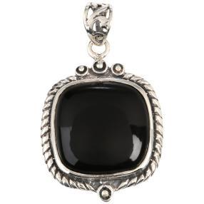 Anhänger 925 Sterling Silber Achat schwarz