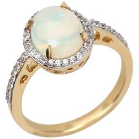 Ring 585 Gelbgold, Äthiopischer Opal