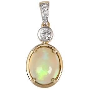 Anhänger 585 Gelbgold, Äthiopischer Opal