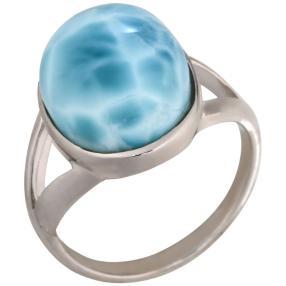 Ring 950 Silber rhodiniert Larimar, oval