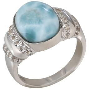 Ring 950 Silber rhodiniert, Larimar, ca. 6,65 ct.