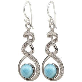 Ohrhänger 950 Silber rhodiniert Larimar,himmelblau