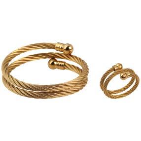 Set Armband+Ring Edelstahl goldfarben flexibel