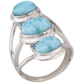 Ring 950 Silber rhodiniert Larimar, ca. 6,50 ct.