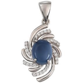Anhänger 925 St. Silber Opal blau