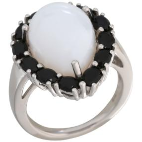 Ring 925 St. Silber rhodiniert Opal weiß