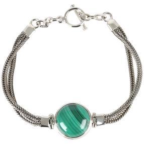 Armband 925 Sterling Silber Malachit