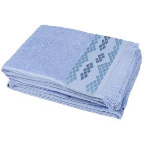 Handtuch hellblau Raute 4er-Set