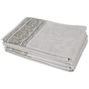 Handtuch Ornament silber 4er-Set