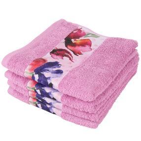 Handtuch 4er Set Blumen, rosa