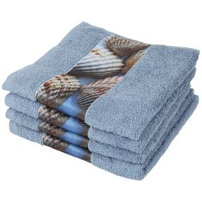 Handtuch 4er Set Muschel, blau