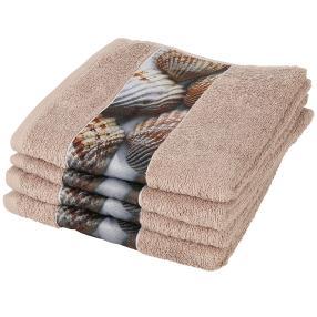 Handtuch 4er Set Muschel, braun