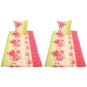 Rose Dream Bettwäsche 4-teilig, grün-pink