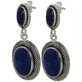 Ohrhänger 925 Sterling Silber Lapis, königsblau