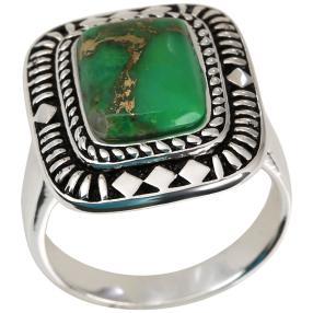 Ring 925 Silber square Türkis grün stabiliesiert