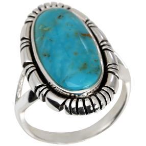 Ring 925 Sterling Silber Türkis stabiliesiert oval