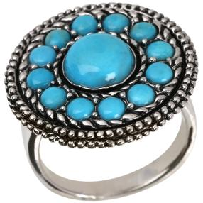 Ring 925 Sterling Silber Türkis stabiliesiert rund