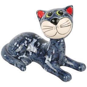 Katze liegend grau gesprenkelt, ca. 25cm
