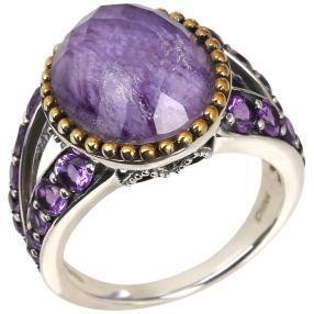 Ring 925 Sterling Silber Charoit Doublette